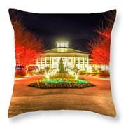 Garden Night Scene At Christmas Time In The Carolinas Throw Pillow