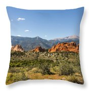 Garden Of The Gods And Pikes Peak - Colorado Springs Throw Pillow