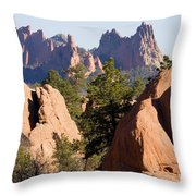 Garden Of The Gods And Red Rocks Open Space Throw Pillow