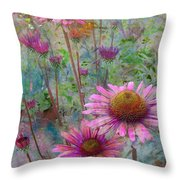 Garden Pink And Abstract Painting Throw Pillow