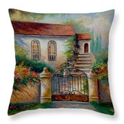 Garden Scene With Villa And Gate Throw Pillow