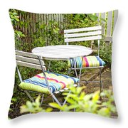 Garden Seating Area Throw Pillow