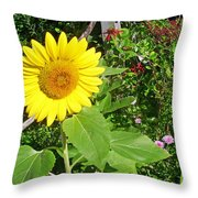 Garden Sunflower Throw Pillow
