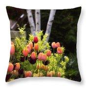 Garden Tulips Throw Pillow