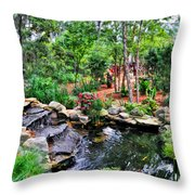 Garden Waterfall And Pond Throw Pillow