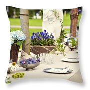 Garden Wedding Table Setting Throw Pillow