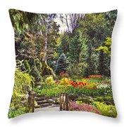 Garden With A Bridge Throw Pillow