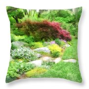 Garden With Japanese Maple Throw Pillow