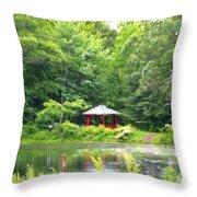 Garden With Pond Throw Pillow