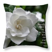 Gardenia Bloom And Scripture Throw Pillow
