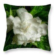 Gardenia In The Rain Throw Pillow