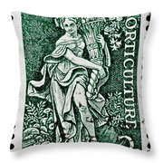 Gardening And Horticulture Vintage Postage Stamp Print Throw Pillow