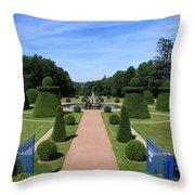 Gardenpath With Blue Gates - Burgundy Throw Pillow