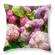 Gardens - Pink And Lavender Hydrangea Throw Pillow