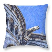 Gargoyle On Sacre Coeur Throw Pillow