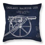 Garland Machine Gun Patent Drawing From 1892 - Navy Blue Throw Pillow