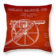 Garland Machine Gun Patent Drawing From 1892 - Red Throw Pillow
