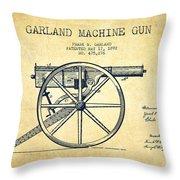 Garland Machine Gun Patent Drawing From 1892 - Vintage Throw Pillow