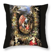 Garland Of Fruit And Flowers Throw Pillow
