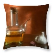 Garlic And Olive Oil. Throw Pillow