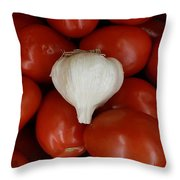 Garlic And Tomatoes Throw Pillow