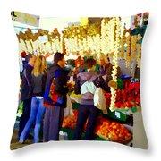 Garlic Festival Farmers Market Food Vendors Onions Garlic Farm Fresh Chef Art Carole Spandau Throw Pillow