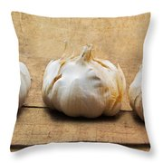 Garlic On Old Barrel Board Throw Pillow