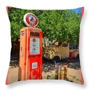 Gas Pump At Embudo Gas Museum Throw Pillow
