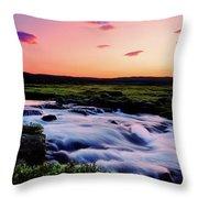 Gaski Waterfall, Grafarlandaa River Throw Pillow