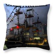 Gasparilla Ship Print Work B Throw Pillow