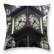 Gastown Steam Clock Throw Pillow