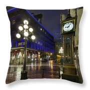Gastown Steam Clock On A Rainy Night Throw Pillow