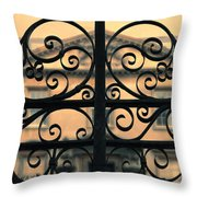 Gate In Front Of Mansion Throw Pillow