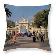 Gate To Maharaja's Palace India Mysore Throw Pillow