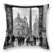 Gate To Piazza Del Popolo In Rome Throw Pillow