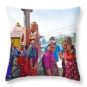 Gathering At Hindu Festival Of Ram Nawami In Kathmandu-nepal Throw Pillow