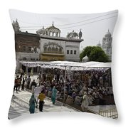 Gathering Inside The Golden Temple In Amritsar Throw Pillow