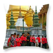 Gathering Near Pagodas Of Grand Palace Of Thailand In Bangkok Throw Pillow