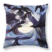 Gathering Of The Ravens Throw Pillow