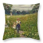 Gathering Wild Flowers  Throw Pillow