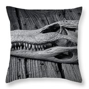 Gator Black And White Throw Pillow