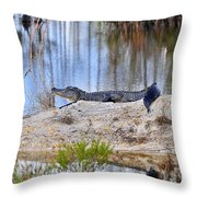 Gator On The Mound Throw Pillow