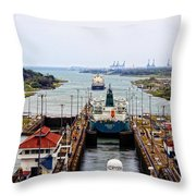 Gatun Locks Panama Canal Throw Pillow
