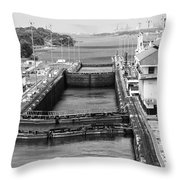 Gatun Locks Panama Monochrome Throw Pillow