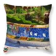 Gaudi's Park Guell - Impressions Of Barcelona Throw Pillow