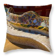 Gaudi's Park Guell Sinuous Curves - Impressions Of Barcelona Throw Pillow