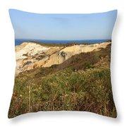 Gay Head Lighthouse With Aquinnah Beach Cliffs Throw Pillow