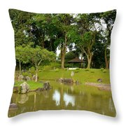 Gazebo Trees Lake And Rock Garden In Singapore Chinese Gardens Throw Pillow