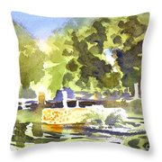 Gazebo With Pond And Fountain II Throw Pillow