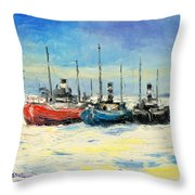 Gdynia Harbour - Winter Throw Pillow